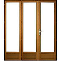 Porte fenêtre bois 3 vantaux ouverture à la française tirant droit 180 x h.215 cm Uw 1,6