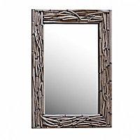 Miroir rectangulaire en bois flotté 50 x 70 cm