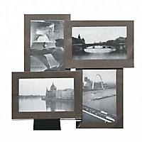 Cadre photo multivues métal noir fumé 30,7 x 30,7 cm