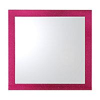 Miroir carré Glitter rose 35 x 35 cm