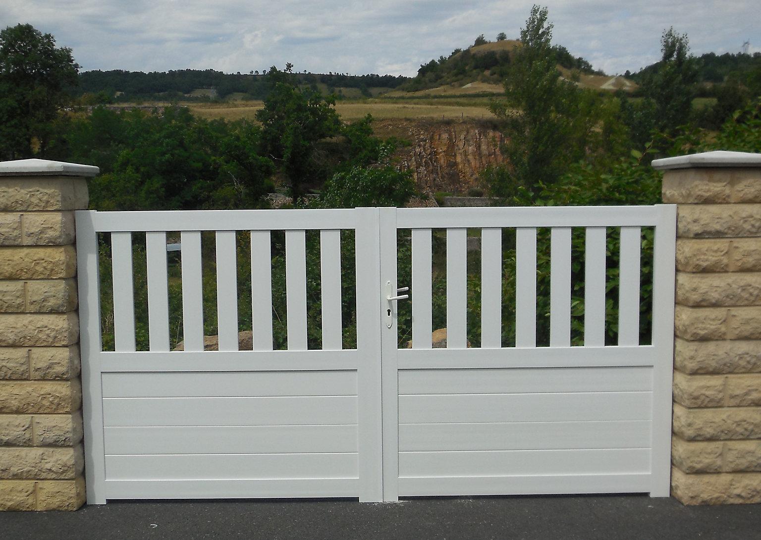 Portail Coulissant Pvc Naussac Blanc 350 X H 150 Cm Castorama