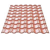 Plaque métal imitation tuile Bacacier Home Steel rouge - 115 x 87 cm (vendue à la plaque)