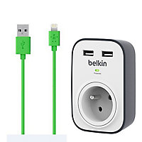 Prise parafoudre + câble IPhone USB