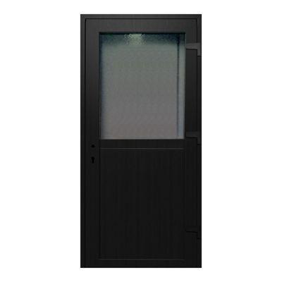Porte de service pvc 1/2 vitrée gris anthracite 80 x h.205 cm poussant gauche