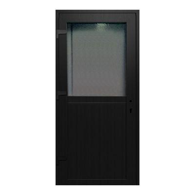 Porte de service pvc 1/2 vitrée gris anthracite 90 x h.205 cm poussant droit