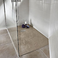Receveur de douche à poser recoupable résine argile Cooke & Lewis Piro 80 x 140 cm