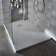 Receveur de douche à poser recoupable résine blanc Cooke & Lewis Piro 80 x 140 cm