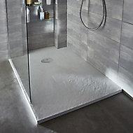 Receveur de douche à poser recoupable résine blanc Cooke & Lewis Piro 90 x 120 cm