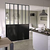 Cloison amovible 3-en-1 esprit atelier Axioma noire H.250 x l.80 cm