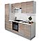 Offrez-vous une belle cuisine tout équipée avec cette cuisine complète dont l'aspect imite le bois. Elle se compose de meubles de rangement, d'un plan de travail, d'un évier et de plusieurs appareils d'électroménager : réfrigérateur, four électrique, plaque vitrocéramique et hotte.