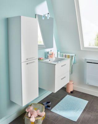 Ensemble de salle de bain Slapton sous-vasque à suspendre blanc 60 cm + plan + miroir