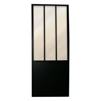 porte coulissante vitr e atelier noir 73 cm castorama. Black Bedroom Furniture Sets. Home Design Ideas
