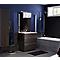 Ensemble de salle de bains marron Pamili plan vasque en résine 80 cm