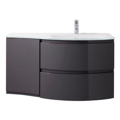 Meuble sous vasque Cooke & Lewis gris anthracite Vague 104 cm + complément gauche + plan vasque en r