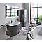 Ensemble de salle de bains Vague gris anthracite 104 cm meuble sous-vasque + complément droit + plan vasque résine