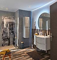 Meuble sous vasque Cooke & Lewis gris clair Vague 104 cm + complément gauche + plan vasque en verre