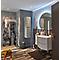 Ensemble de salle de bains Vague gris clair 104 cm meuble sous-vasque + complément gauche + plan vasque verre
