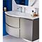 Ensemble de salle de bains Vague taupe 104 cm meuble sous-vasque + complément droit + plan vasque verre