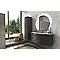 Ensemble de salle de bains Vague gris anthracite 138 cm meuble sous-vasque + complément gauche et droit + plan vasque verre