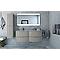 Meuble sous-vasque Cooke & Lewis gris clair Vague 138 cm + plan double vasque en verre