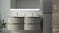 Meuble sous-vasque Cooke & Lewis taupe Vague 138 cm + plan double vasque en verre