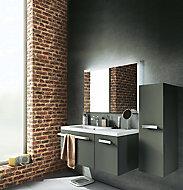 Meuble sous vasque Belice gris droit 105 cm + plan vasque