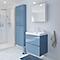 Ensemble de salle de bains à suspendre Imandra bleu 60 cm meuble sous vasque + plan Nira