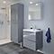 Ensemble de salle de bains à suspendre Imandra gris 60 cm meuble sous vasque + plan Lana