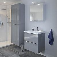 Meuble sous vasque à suspendre GoodHome Imandra gris 60 cm + plan vasque Lana