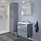 Ensemble de salle de bains à suspendre Imandra gris 60 cm meuble sous vasque + plan Mila