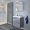 Ensemble de salle de bains à suspendre Imandra gris 60 cm meuble sous vasque + plan Nira