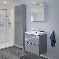Meuble sous vasque à suspendre GoodHome Imandra gris 60 cm + plan vasque Nira