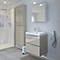 Ensemble de salle de bains à suspendre Imandra taupe 60 cm meuble sous vasque + plan Nira