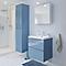 Ensemble de salle de bains à suspendre Imandra bleu 60 cm meuble sous vasque + plan Mila