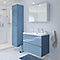 Ensemble de salle de bains à suspendre Imandra bleu 80 cm meuble sous vasque + plan Mila