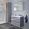 Ensemble de salle de bains à suspendre Imandra gris 80 cm meuble sous vasque + plan Mila