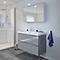 Ensemble de salle de bains à suspendre Imandra gris 80 cm meuble sous vasque + plan Nira
