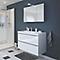 Ensemble de salle de bains à suspendre Imandra blanc 100 cm meuble sous vasque + plan Mila