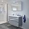 Ensemble de salle de bains à suspendre Imandra gris 100 cm meuble sous vasque + plan Lana