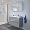 Ensemble de salle de bains à suspendre Imandra gris 100 cm meuble sous vasque + plan Nira