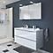 Ensemble de salle de bains à poser Imandra blanc 120 cm meuble sous vasque + plan Nira