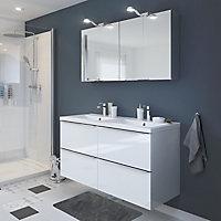 Meuble sous vasque à suspendre GoodHome Imandra blanc 120 cm + plan vasque Nira