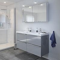 Meuble sous vasque à suspendre GoodHome Imandra gris 120 cm + plan vasque Lana