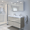 Ensemble de salle de bains à suspendre Imandra taupe 120 cm meuble sous vasque + plan Mila