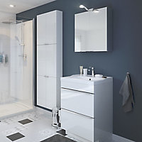 Meuble sous vasque à poser GoodHome Imandra blanc 60 cm + plan vasque Mila