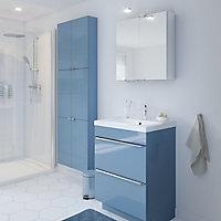 Meuble sous vasque à poser GoodHome Imandra bleu 60 cm + plan vasque Mila