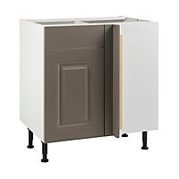 Meuble de cuisine Candide taupe d'angle façade 1 porte 1 tiroir + kit fileur + caisson bas L. 80 cm