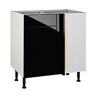 Meuble de cuisine Gossip noir d'angle façade 1 porte + kit fileur + caisson bas L. 80 cm