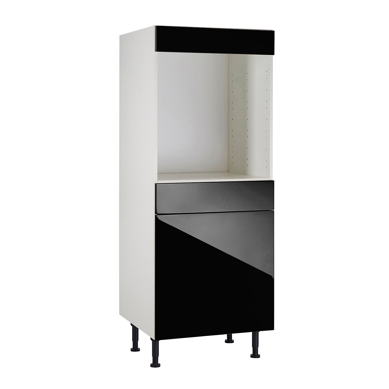 Meuble de cuisine Gossip noir façade 11111111 porte 11111111 tiroir + bandeau four +  caisson 11111111/11 colonne L. 11 cm