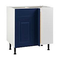 Meuble de cuisine Candide bleu d'angle façade 1 porte + kit fileur + caisson bas L. 80 cm